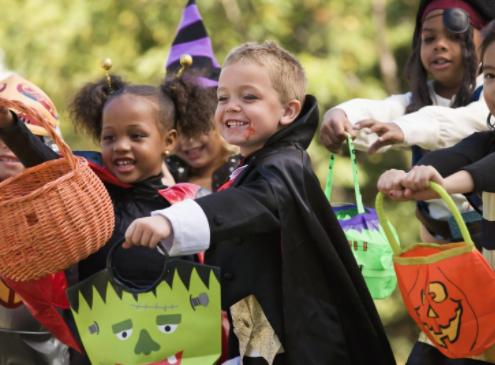 children with baskets - halloween safety