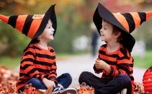 children with hats - halloween safety